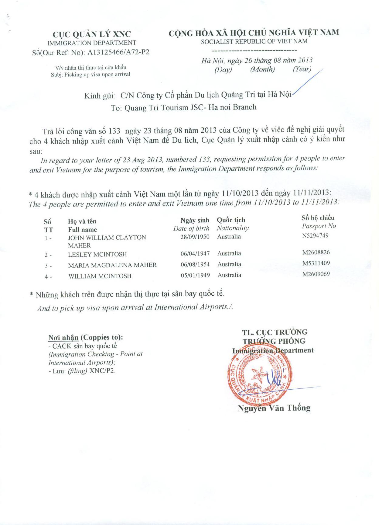 Exemplaire de la lettre d'approbation de visa vietnam et le Formulaire M3
