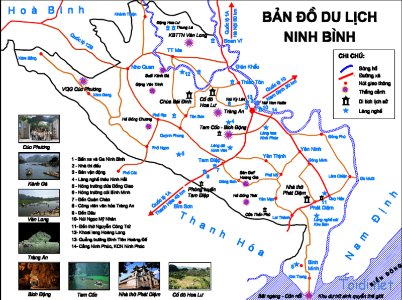 Carte des attractions de Ninh Binh